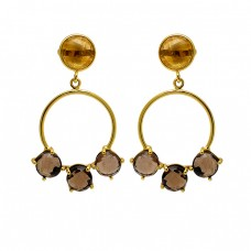 Smoky Quartz Citrine Gemstone 925 Sterling Silver Gold Plated Stud Dangle Earrings