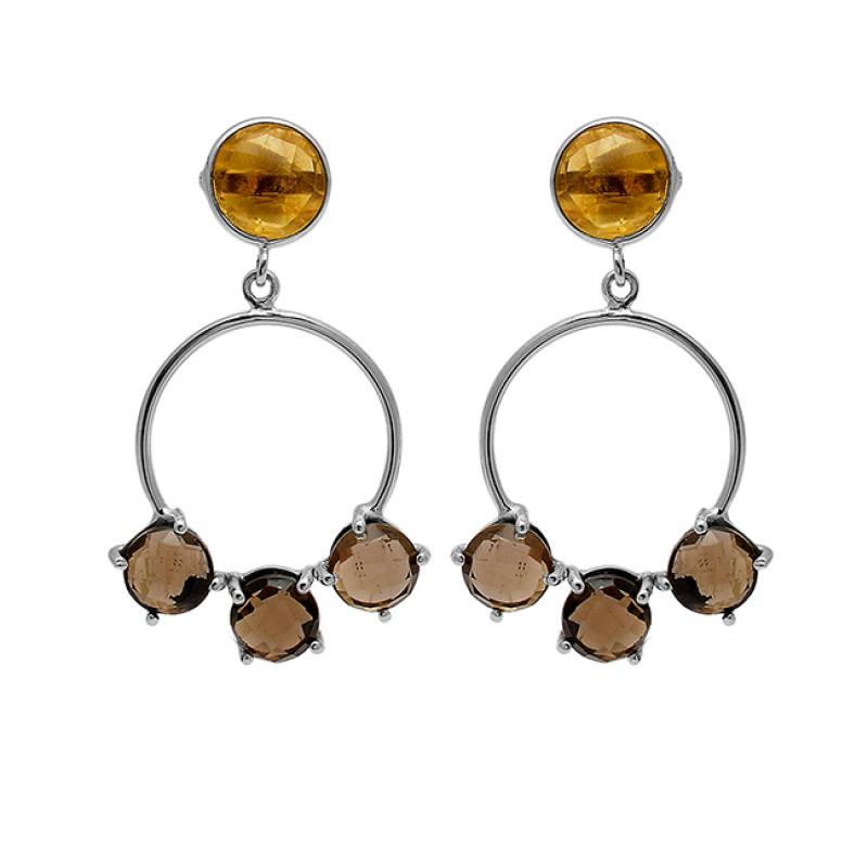 Smoky Quartz Citrine Gemstone 925 Sterling Silver Gold Plated Stud Dangle Earrings
