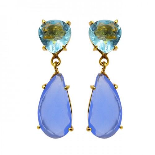 Blue Topaz chalcedony Gemstone 925 Sterling Silver Gold Plated Stud Dangle Earrings