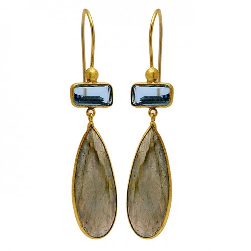 Blue Quartz Labradorite Gemstone 925 Sterling Silver Gold Plated Earrings