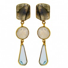 925 Sterling Silver Labradorite Moonstone Topaz Gold Plated Dangle Stud Earrings