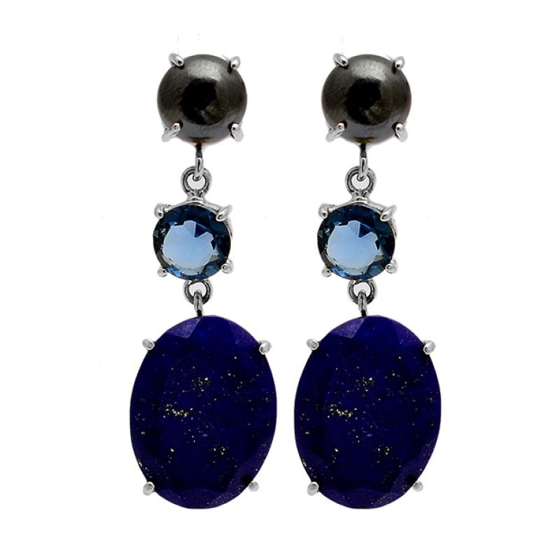 Hematite Blue Quartz Lapis Lazuli Gemstone 925 Silver Gold Plated Dangle Earrings