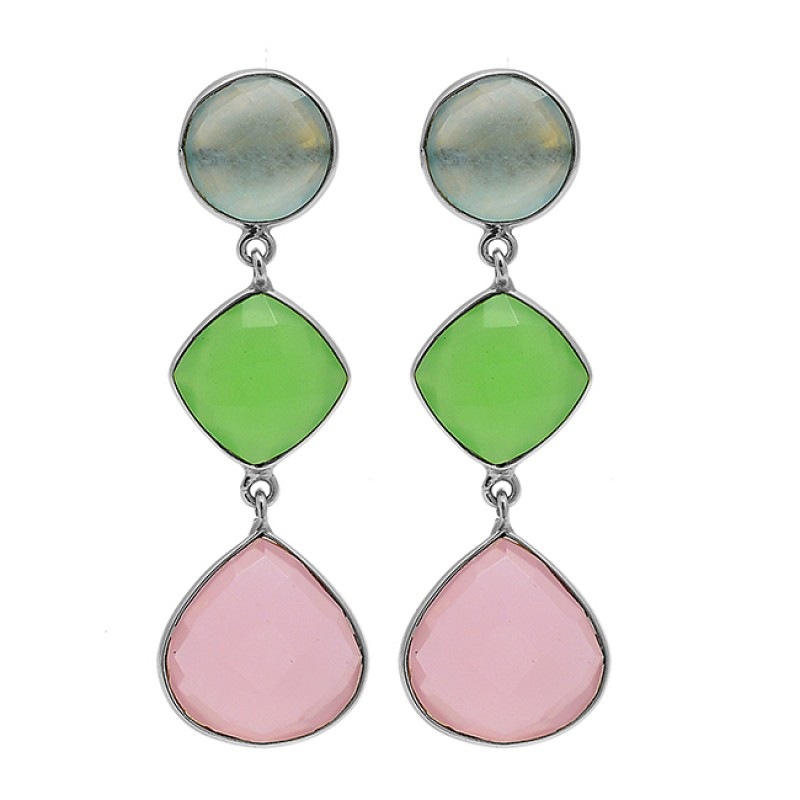 925 Sterling Silver Chalcedony Gemstone Gold Plated Bezel Setting Stud Earrings