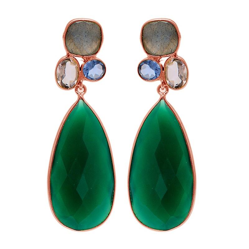 Multi Color Gemstone 925 Sterling Silver Gold Plated Dangle Stud Designer Earrings
