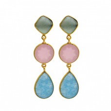 Larimar Chalcedony Gemstone 925 Sterling Silver Gold Plated Bezel Setting Earrings