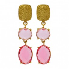 Pink Quartz Oval Shape Gemstone 925 Sterling Silver Gold Plated Stud Dangle Earrings