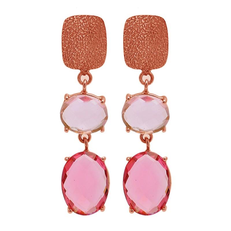 Pink Quartz Oval Shape Gemstone 925 Sterling Silver Gold Plated Stud Dangle Earrings