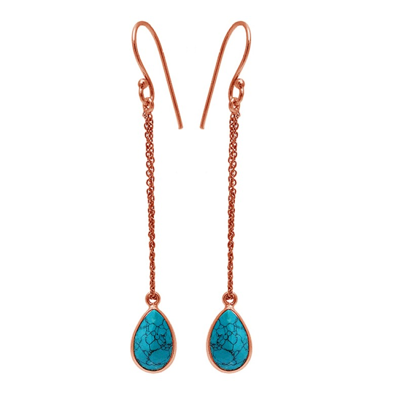 Pear Shape Turquoise Gemstone 925 Sterling Silver Gold Plated Chain Dangle Earrings