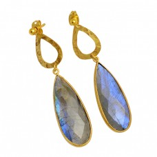 Pear Shape Labradorite Gemstone 925 Sterling Silver Gold Plated Stud Earrings