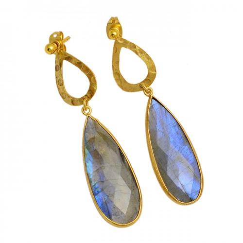 Pear Shape Labradorite Gemstone 925 Sterling Silver Gold Plated Stud Earrings