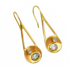Moonstone Crystal Quartz Gemstone 925 Sterling Silver Gold Plated Handmade Earrings