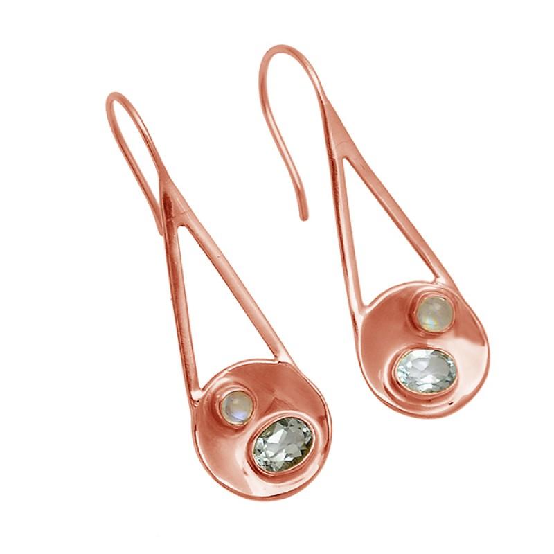 Moonstone Crystal Quartz Gemstone 925 Sterling Silver Gold Plated Handmade Earrings