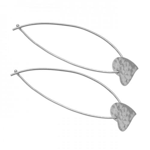 Hammered Heart Shape Leaf Designer Plain 925 Sterling Silver Gold Plated Hoop Earrings