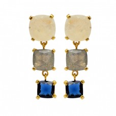 Labradorite Blue Quartz Moonstone 925 Sterling Silver Gold Plated Stud Earrings