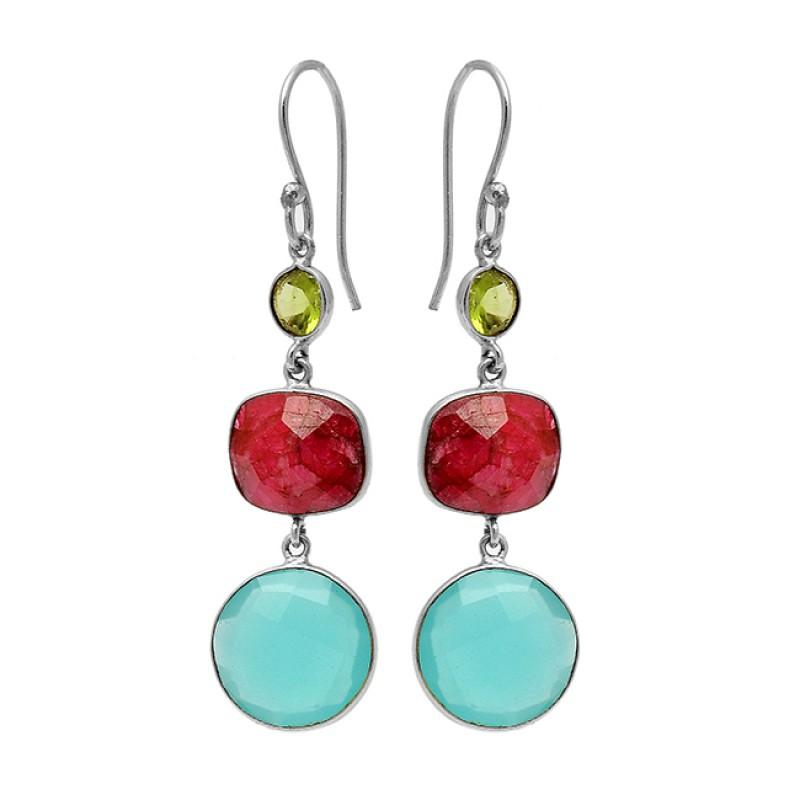 Peridot Ruby Chalcedony Gemstone 925 Sterling Silver Gold Plated Dangle Earrings