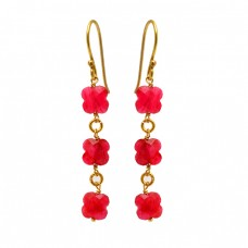 Flower Shape Ruby Gemstone 925 Sterling Silver Gold Plated Dangle Earrings
