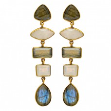 Labradorite Moonstone 925 Sterling Silver Gold Plated Bezel Setting Stud Earrings
