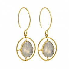 Oval Shape Labradorite Gemstone 925 Sterling Silver Gold Plated Dangle Hoop Earrings