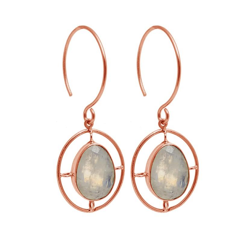 Oval Shape Labradorite Gemstone 925 Sterling Silver Gold Plated Dangle Hoop Earrings