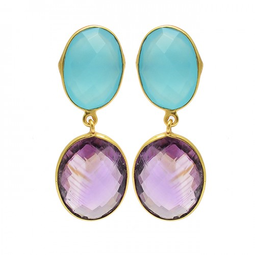 Amethyst Chalcedony Gemstone 925 Sterling Silver Gold Plated Stud Dangle Earrings