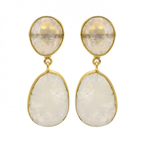 Oval Shape Rainbow Moonstone 925 Sterling Silver Gold Plated Stud Dangle Earrings