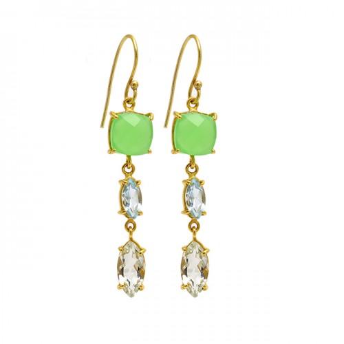 Blue Topaz Chalcedony Gemstone 925 Sterling Silver Gold Plated Dangle Earrings
