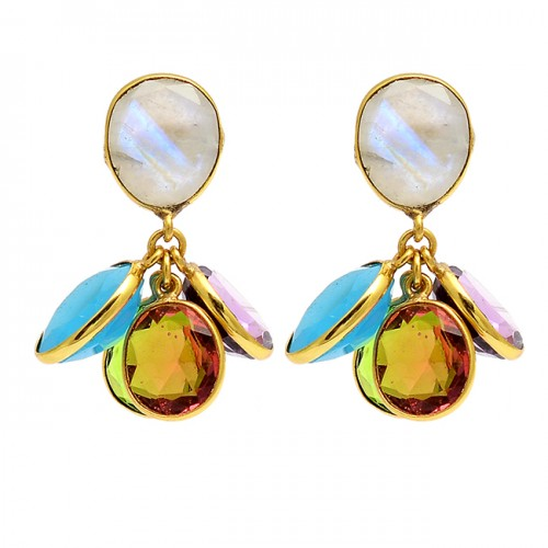 925 Sterling Silver Multi Color Gemstone Gold Plated Bezel Setting Dangle Earrings