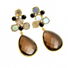 Labradorite Onyx Smoky Quartz Gemstone 925 Silver Gold Plated Handmade Earrings