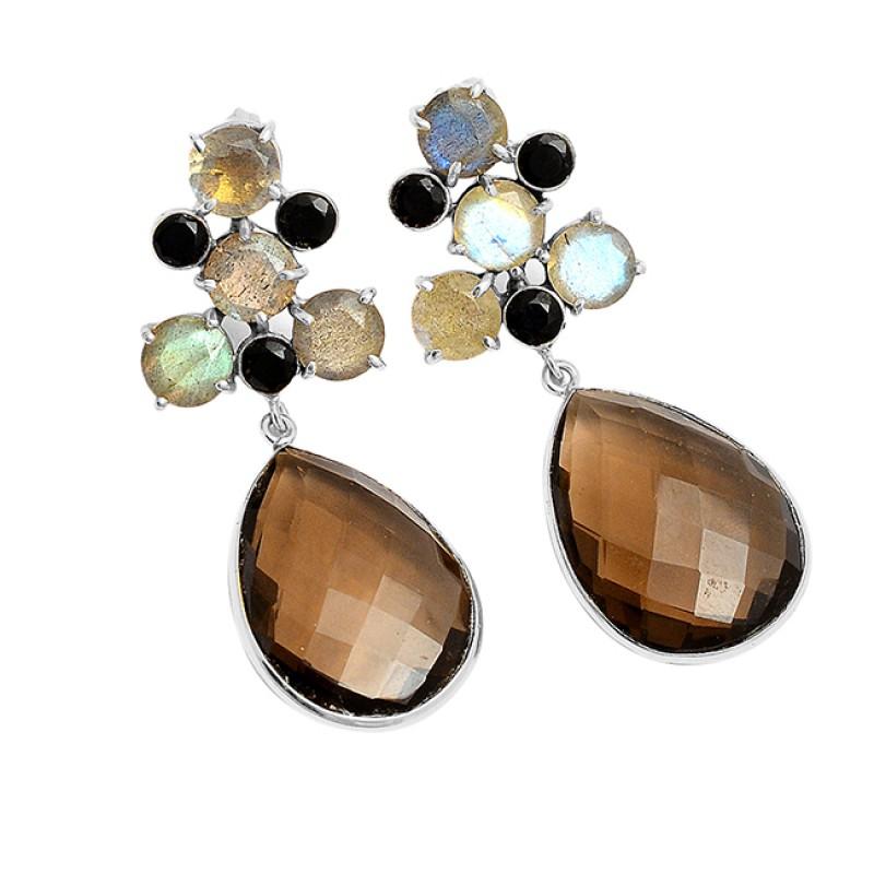 Labradorite Onyx Smoky Quartz Gemstone 925 Silver Gold Plated Handmade Earrings