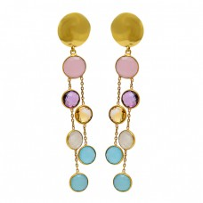 925 Sterling Silver Round Shape Gemstone Gold Plated Stud Chain Dangle Earrings