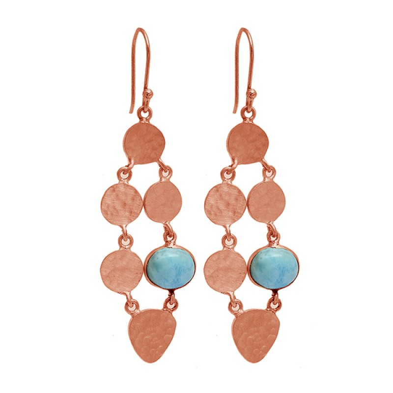 Larimar Oval Shape Gemstone 925 Sterling Silver Gold Plated Dangle Earrings