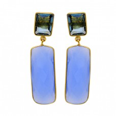 Rectangle Shape Chalcedony Blue Quartz Gemstone Gold Plated Stud Dangle Earrings