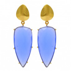Blue Chalcedony Gemstone 925 Sterling Silver Gold Plated Stud Dangle Earrings