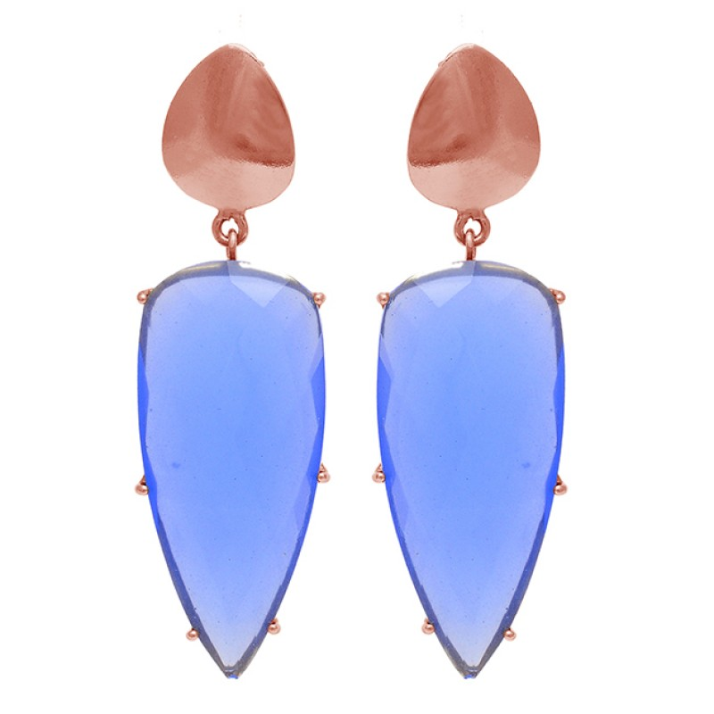 Blue Chalcedony Gemstone 925 Sterling Silver Gold Plated Stud Dangle Earrings
