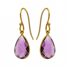 Pear Shape Amethyst Gemstone 925 Sterling Silver Gold Plated Bezel Setting Earrings