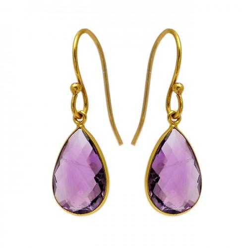Pear Shape Amethyst Gemstone 925 Sterling Silver Gold Plated Bezel Setting Earrings