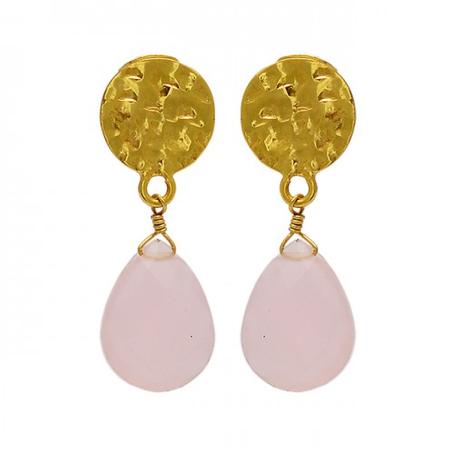 Rose Chalcedony Gemstone 925 Sterling Silver Gold Plated Stud Dangle Earrings