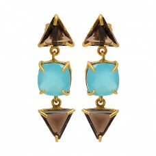 Smoky Quartz Aqua Chalcedony Gemstone 925 Silver Gold Plated Stud Dangle Earrings