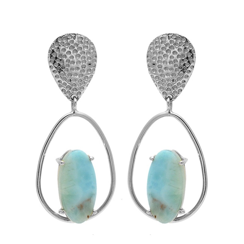 Oval Shape Larimar Gemstone 925 Sterling Silver Gold Plated Dangle Stud Earrings