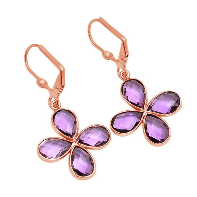 925 Sterling Silver Amethyst Pear Shape Gemstone Gold Plated Clip-On Earrings