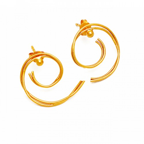 Unique Plain Silver Wire Handmade Designer Gold Plated Stud Earrings