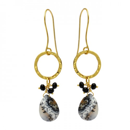 Black Onyx Dendrite Opal Gemstone 925 Sterling Silver Gold Plated Dangle Earrings