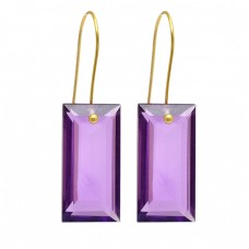 925 Sterling Silver Rectangle Shape Amethyst Gemstone Gold Plated Earrings