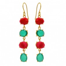 Ruby Green Onyx Gemstone 925 Sterling Silver Gold Plated Prong Setting Earrings
