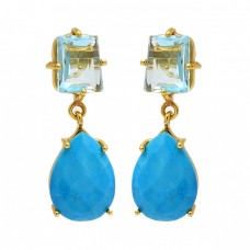 Blue Topaz Turquoise Gemstone 925 Sterling Silver Gold Plated Prong Setting Earrings