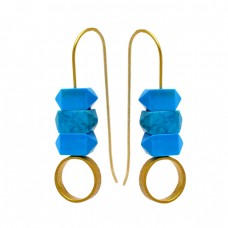 Turquoise Pencil Shape Gemstone 925 Sterling Silver Gold Plated Earrings