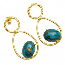 Oval Cabochon Blue Copper Turquoise Gemstone 925 Silver Gold Plated Stud Earrings
