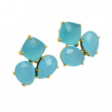 Aqua Chalcedony Gemstone 925 Sterling Silver Gold Plated Prong Setting Earrings