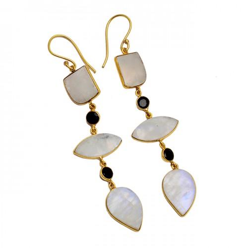 Rose Qaurtz Black Onyx Moonstone 925 Sterling Silver Gold Plated Dangle Earrings
