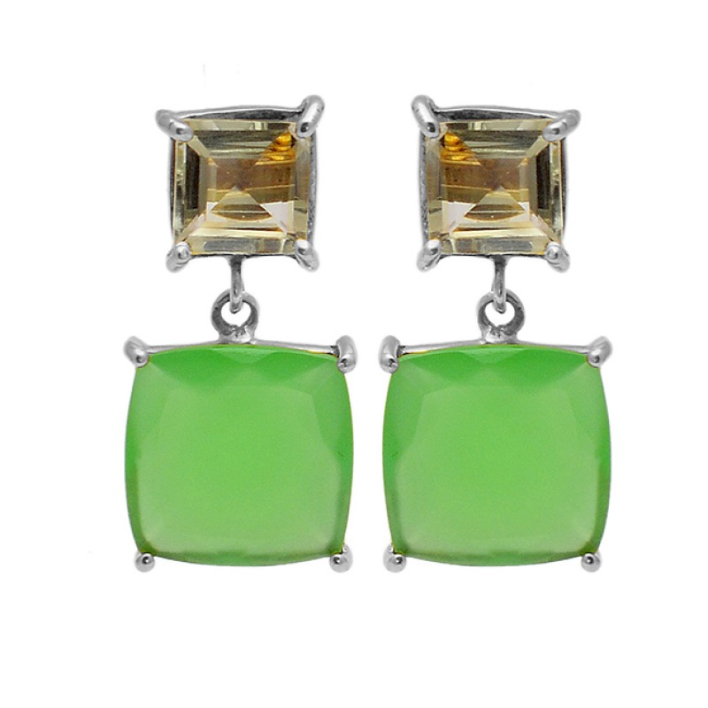 Smoky Quartz Chalcedony Gemstone 925 Sterling Silver Gold Plated Stud Dangle Earrings